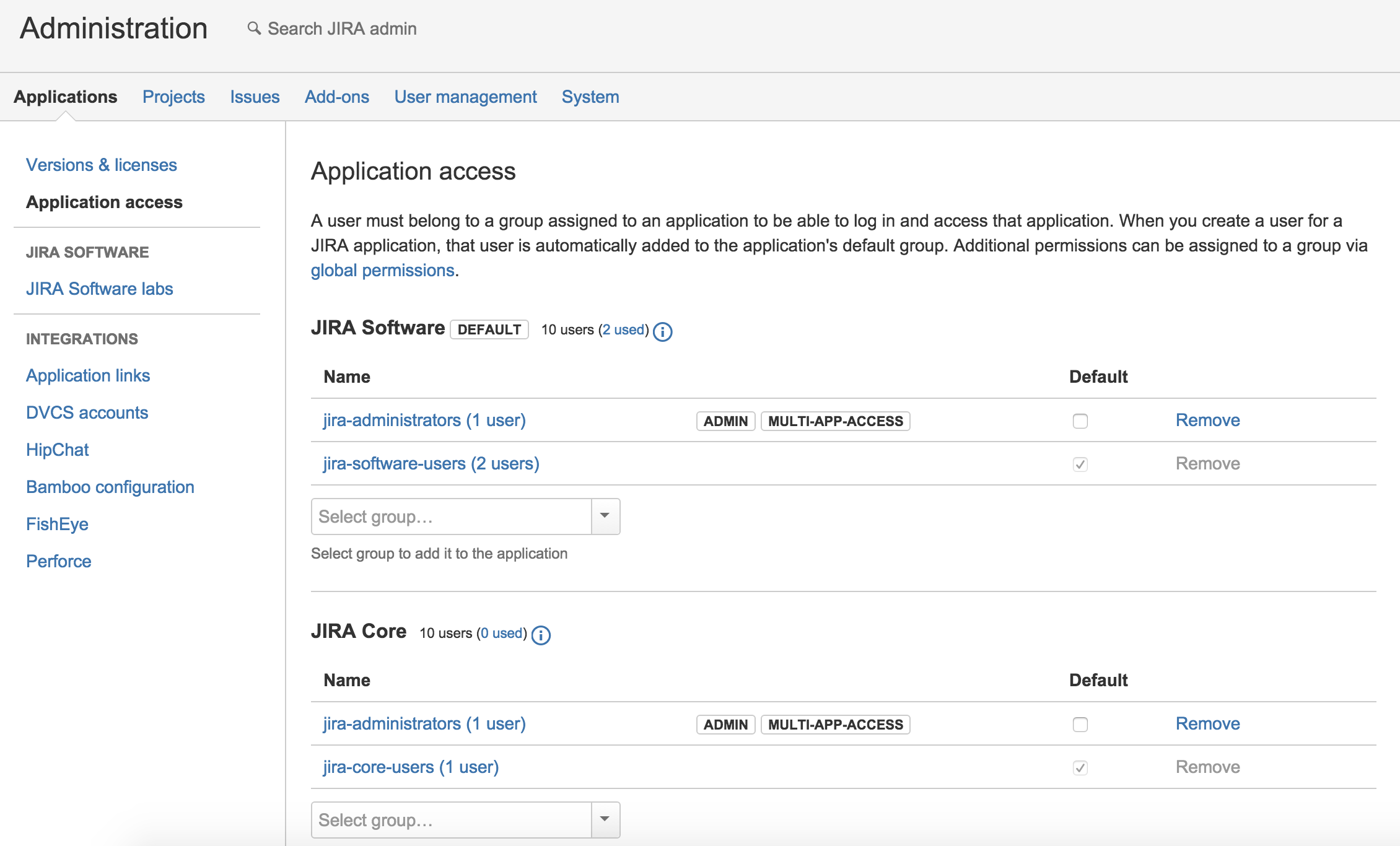 JIRA Application Access
